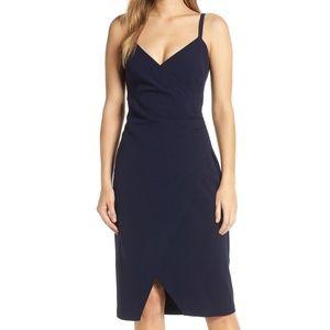 Eliza J Sleeveless Faux Wrap Dress, Navy Blue